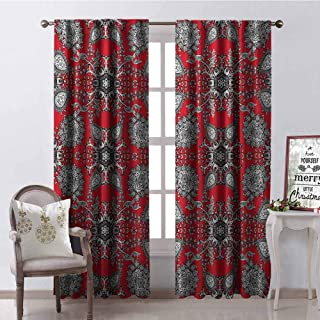Gloria Johnson Red Mandala Shading Insulated Curtain Doodle Mandala Flower Ivy Swirls Classic Paisley Ethnic Design Image Soundproof Shade W52 x L95 Inch Scarlet White Black