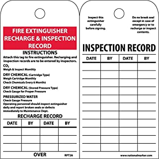 NMC RPT26ST100 Fire Extinguisher Recharge & Inspection Record Instructions Tag, Synthetic Paper EZ Pull Tag