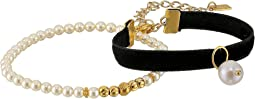Chan Luu - Velvet Adjustable and Pearl Stretch Bracelets