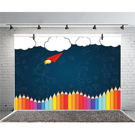 Leyiyi 12x8ft Cartoon Back to School Backdrop Blackboard Red Apple Colorful Flags Books Globe Alarm Clock Chalk Drawing School Bag Kindergarten Photography Backdrop Photo Studio Props