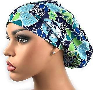 Surgical Scrub Hat Blue Tropical Floral Scrub Cap