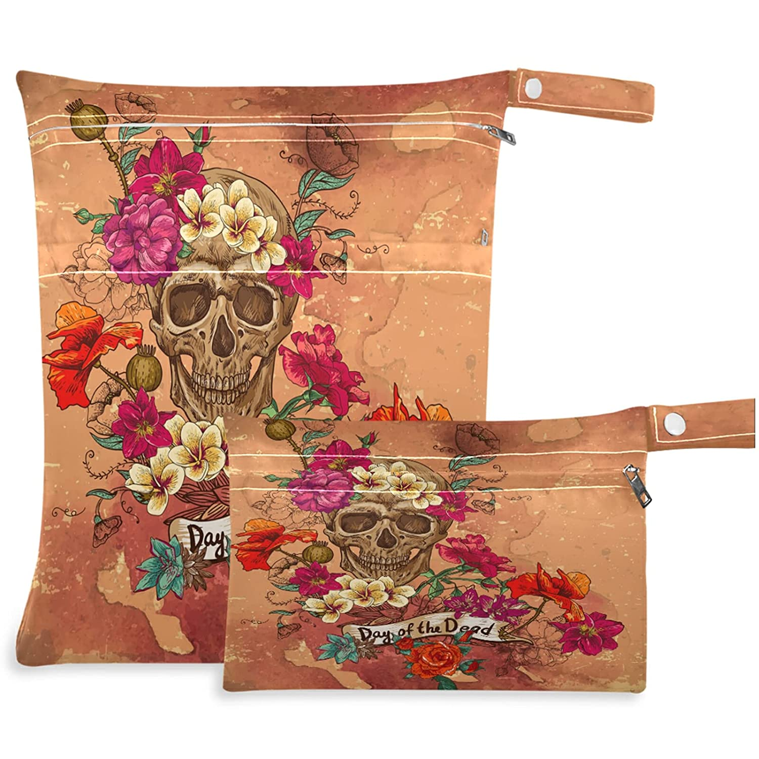 visesunny Skull and Flower Day of The 2Pcs Dead Max 77% 25% OFF OFF Zip with Wet Bag
