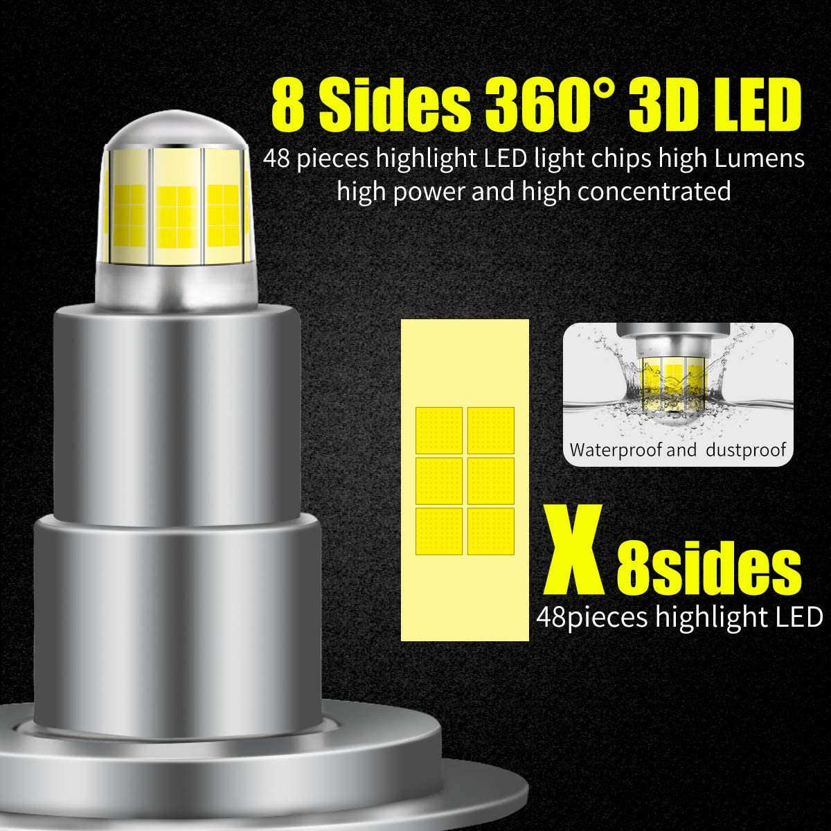 Pack of 2 H7 LED Headlight Bulb 80W 16000LM Bright 6000K Cool White 2020 Upgraded 8 Sides CSP Chips 360 Degree Adjustable Beam H7 LED Conversion Kit Recommended for Projector Headlights