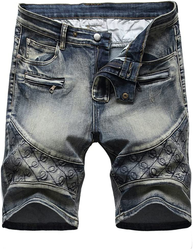 YFQHDD Summer Men's Denim Short Jeans Casual Slim Fit Thin Cotton Embroidered Shorts Male (Color : B, Size : 40 Code)