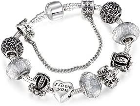 FJ-Direct Vintage Royal Crown Crystal Love Charm Bracelet Women Snake Chain Bracelet Female Jewelry,18Cm