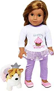 Brittany's American Co. Happy Birthday Outfit with Kingdom Kuddles Corgi for 18 Inch Girl Dolls- Girl Doll Clothes American