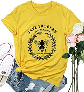 FLOYO Save The Bees T Shirt Women Save The Humanity Letters Shirt Short Sleeve Bee Graphic Vintage Tees Top