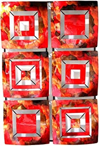 "Heather Ann Creations 6 Geometric Squares Panel Modern Metal Hanging Wall Sculpture, 16.2"" H x 24.8"" W, Copper/Red/Gold"