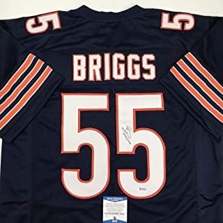 Autographed/Signed Lance Briggs Chicago Blue Football Jersey Beckett BAS COA