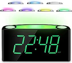 Home LED Digital Alarm Clock, 12/24 H, 7 Color Night Light, Large 7