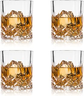 GLASKEY Whiskey Glasses, Set of 4 Scotch Glass Tumblers for Drinking Bourbon, Cognac, Irish Whisky, Large 7-12oz Premium Lead-Free Crystal Old Fashioned Glass