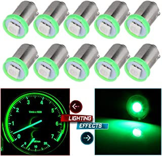 cciyu 10X BA9S LED SMD 1895 DASH INSTRUMENT PANEL CLUSTER Ash Tray Light Bulbs BA9S 1-5050-SMD Light Bulbs Replacement fit for Dashboard Gauge cluster Speedometer Odometer Map light Green