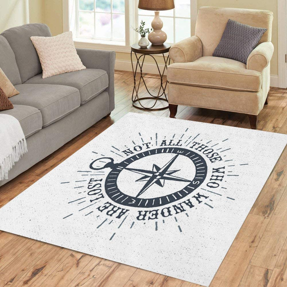 Pinbeam Area Now Mail order free shipping Rug Vintage Label Retro Rose Compass and Not Badge