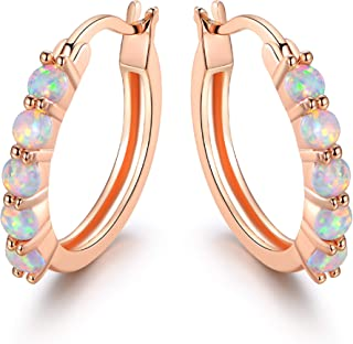 18K Rose Gold Plated or White Gold Plated Created Opal Hoop Earring