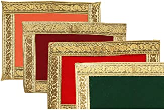 Pooja Mat Aasan Puja Aasan Decorative Cloth Set of 4 (Size:-6 Inches X 5 Inches,) for Multipurpose Pooja Decorations Item ...