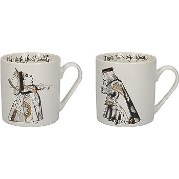 V&A Alicia en el país de las maravillas - Juego de taza en caja de regalo, porcelana, Oro blanco y negro, 350 ml, Set of 2: Amazon.es: Hogar