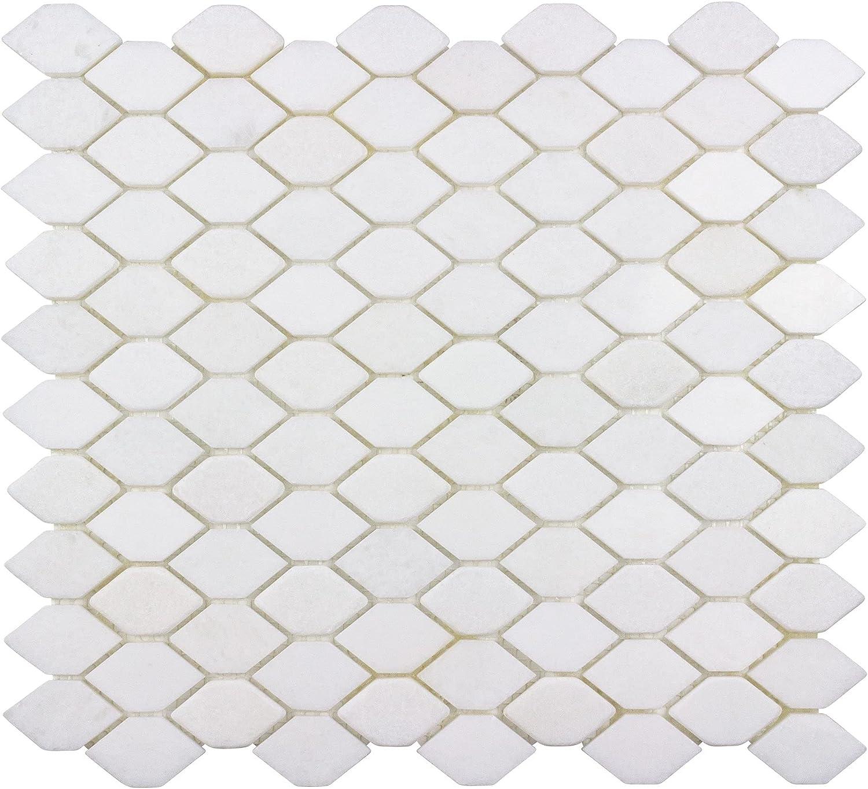 Modern 1x1.8 supreme White Hexagon Stone Tile Luxury goods Back Mosaic Kitchen Marble