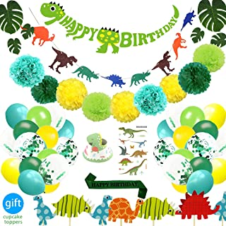 69 Pack Dinosaur Party Supplies Little Dino Party Decorations Set for Kids Birthday Party, Baby Shower, Bridal shower Decorations By REZIPO