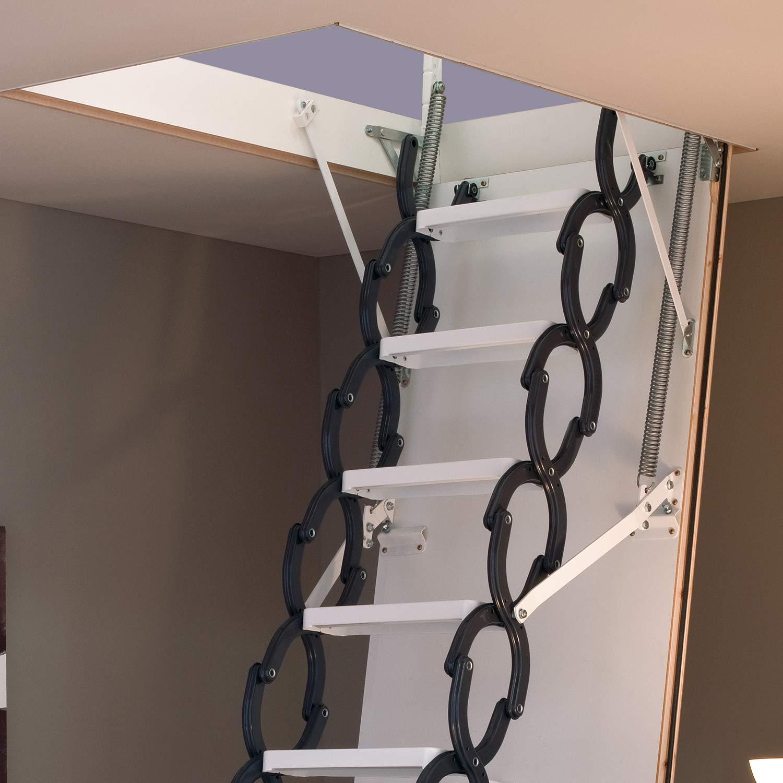 Kit de escalera plegable de 11 peldaños de calidad prémium, con escotilla y marco de puerta, 3 m de altura máxima del suelo al techo, 750 mm, columpio mini compacto, ahorro de
