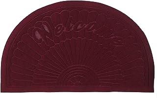 Bott Rubber Doormat Indoor Outdoor Half Round Door Mat Entrance Rug Floor Mats 20'' 32''(Wine Red)