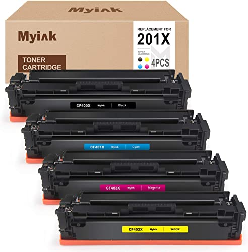 popular MYIK Compatible Toner Cartridge online sale Replacement for HP 201X 201A CF400X CF401X CF402X CF403X CF400A high quality Fit with Laserjet Pro MFP M252dw M277dw M277c6 M277n M252n (Black Cyan Magenta Yellow) outlet sale