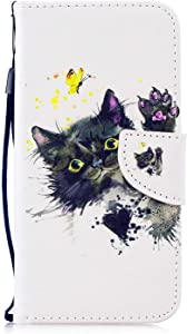 DENDICO Huawei P30 Case  Flip Wallet Leather Case Slim Book Cover for Huawei P30 Magnetic Stand Protective Shockproof Case with Card Holder White  Cat