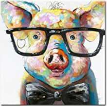 Muzagroo Art Happy Pig Oil Paintings for Living Room Huge Canvas Wall Art Wall Decor(40x40in)