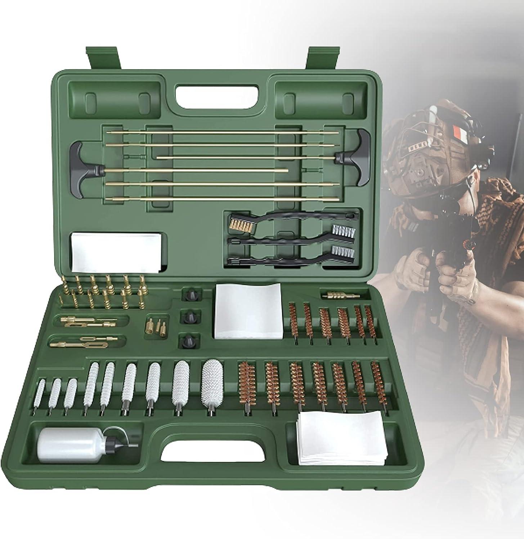 ZPCSAWA Universal Aluminio para Pistolas de Rifle Pistolas Shotgun Gun Kit de Limpieza Cepillos con Funda de Madera