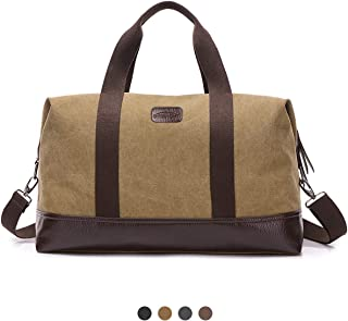 Overmont Weekender Tasche Reisetasche Vintage Canvas Unisex Gym Tasche Handgepäck Sporttasche für Reise am Wochenend Urlaub Khaki/Schwarz/Grau/Braun