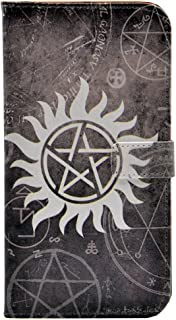 S7 Edge Case, Supernatural Pentagram Star Pattern Leather Wallet Case Stand with Cash Card Slots for Samsung Galaxy S7 Edge