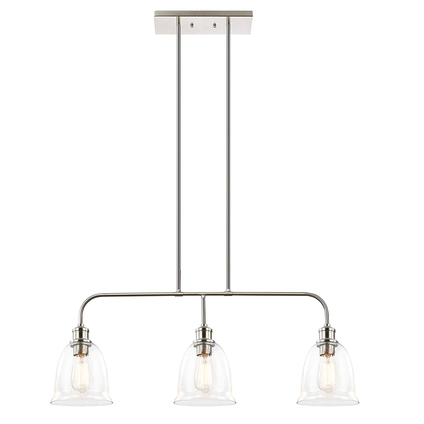 Light Society 3-Light Austin Pendant Lamp, Satin Nickel Finish with Handblown Clear Seeded Glass Shades, Adjustable Modern Lighting Fixture for Kitchen Island, Dining Room and Restaurants (LS-C243-SN)