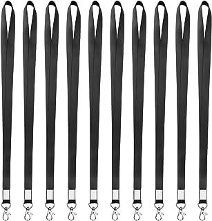 Noir Lanières Tour de Cou de Bureau avec Crochets Mousquetons Pivotants en Métal pour Badges Carte D'Identité Clés 10 Pièces