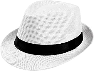 Unisex Wide Brim Straw Panama Roll up Hat Fedora Summer Beach Sun Hat UPF50+ Cuban Trilby Men Women