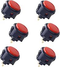 (Black & Red) - 6 Piece Original SANWA OBSF-30 Arcade Button 30mm snap in Buttons for Arcade Joystick Controller & Video Game Console (Black & Red)