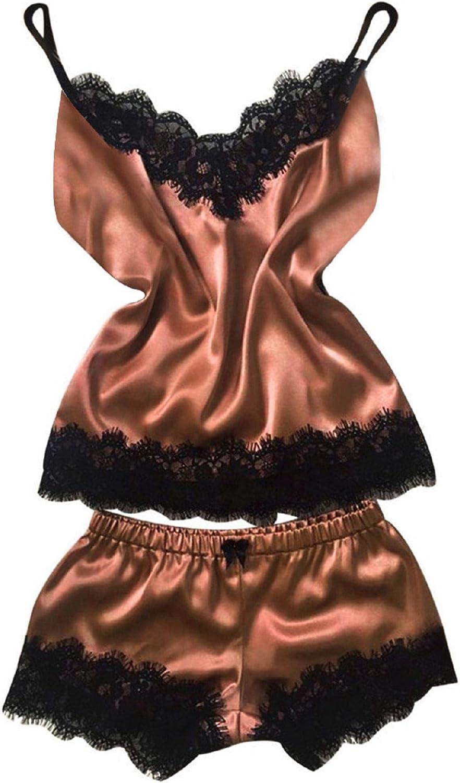 Women Satin Pajamas Set Silk Lace Sleepwear Cami Nightwear Shorts Lingerie 2 Pcs Pajamas (XXXL, Brown- 1)
