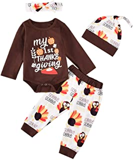 4Pcs Newborn Baby Boy Girl Thanksgiving Outfit Long-Sleeves Letter Print Rompers+Turkey Pants+Headband+Hat Clothes Set