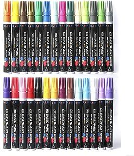 28Pcs/Set Oil Based Paint Marker Pens Assorted Colors Paint Pen 3.3mm Extra-fine Tip DIY Photo Album Art Supplies