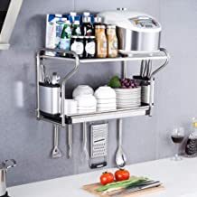 Kitchen Storage Rack 304 Stainless Steel Microwave Oven Shelf, Wall-Mounted Dish for Kitchen, Storage