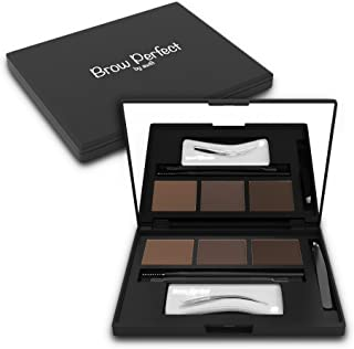 Brow Perfect Eyebrow Kit – 13 Piece Brow Kit – Eyebrow Stencils For Perfect Brows That Frame Your Face! Includes 6 Stencils, 3 Powders, 3 Brushes, Tweezers and a Compact Mirrored Case
