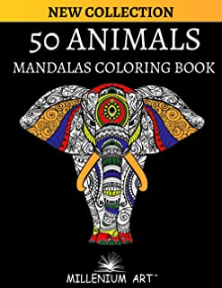 50 Animals Coloring Book with Mandala for Adults (Millenium Art) - UK