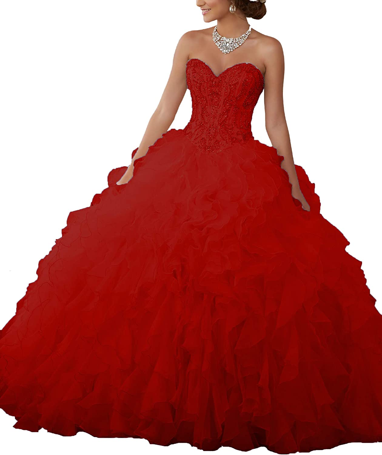 Aishanglina Women's Sweetheart Heavy Beaded Organza Ruffle Quinceanera Dresses Prom Ball Gowns Lace Up Back