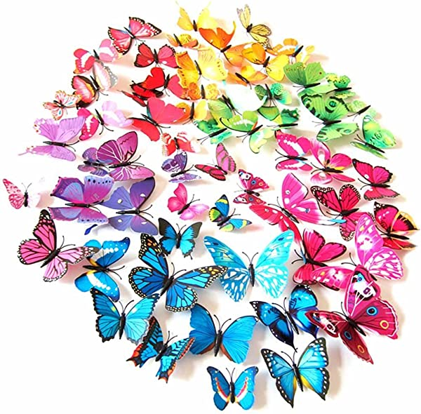 LuckyStar365 72PCS 3D Colorful Butterfly Wall Stickers DIY 3D Stickers Wall Decor Art Decorations For Bedroom Living Room