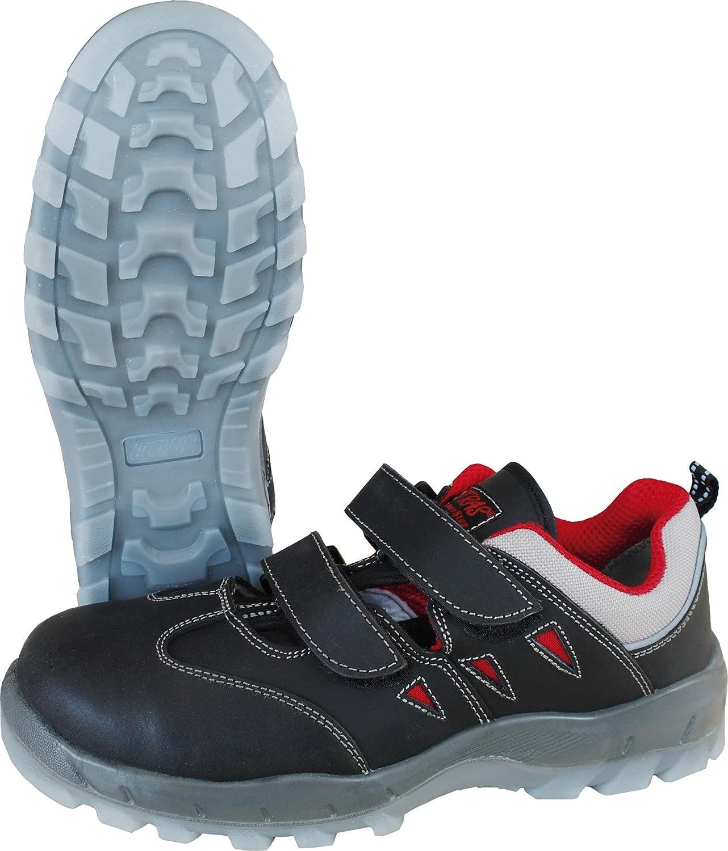 Sicherheits Sandale Nitras Sportstep Summer 7302, S1P, Kunststoffkappe+ durchtrittsicher,schwarz rot, ESD, Gr.  36 - 48