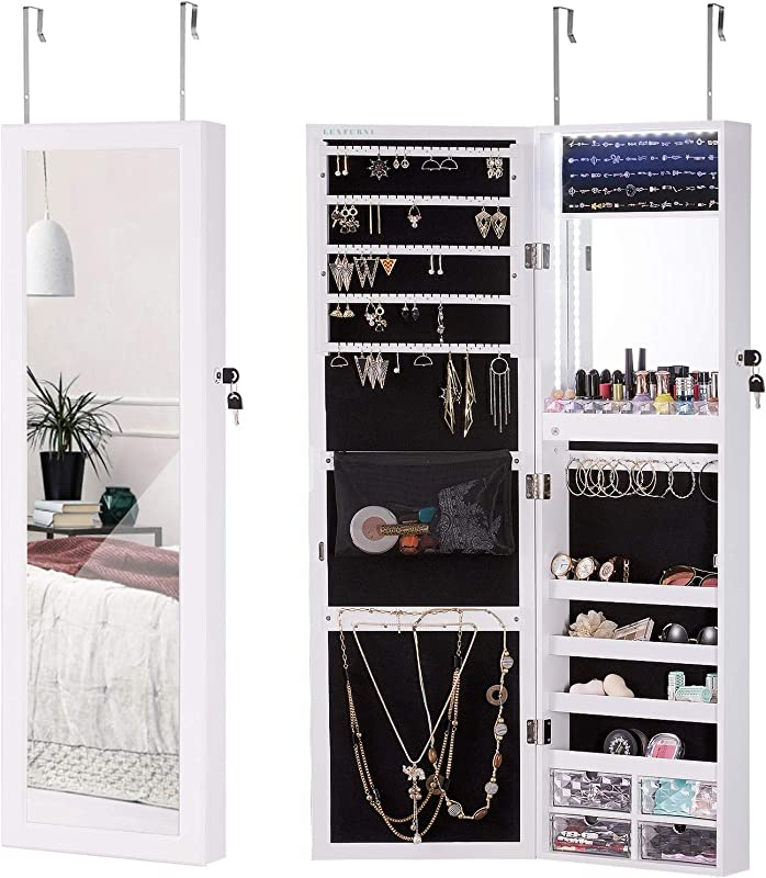 LUXFURNI LED Light Jewelry Cabinet Wall Mount Door Hanging Mirror Makeup Lockable Armoire Large Storage Organizer W Drawers
