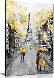 Yellow Black & White Paris Painting Canvas Wall Art Picture Print (30x20) - coolthings.us