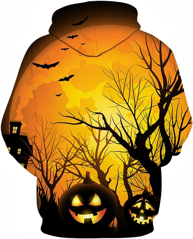 XXBR Halloween Hoodies for Mens, 3D Funny Pumpkin Jack-o-Lantern Print Hooded Sweatshirts Athletic Casual Pullover