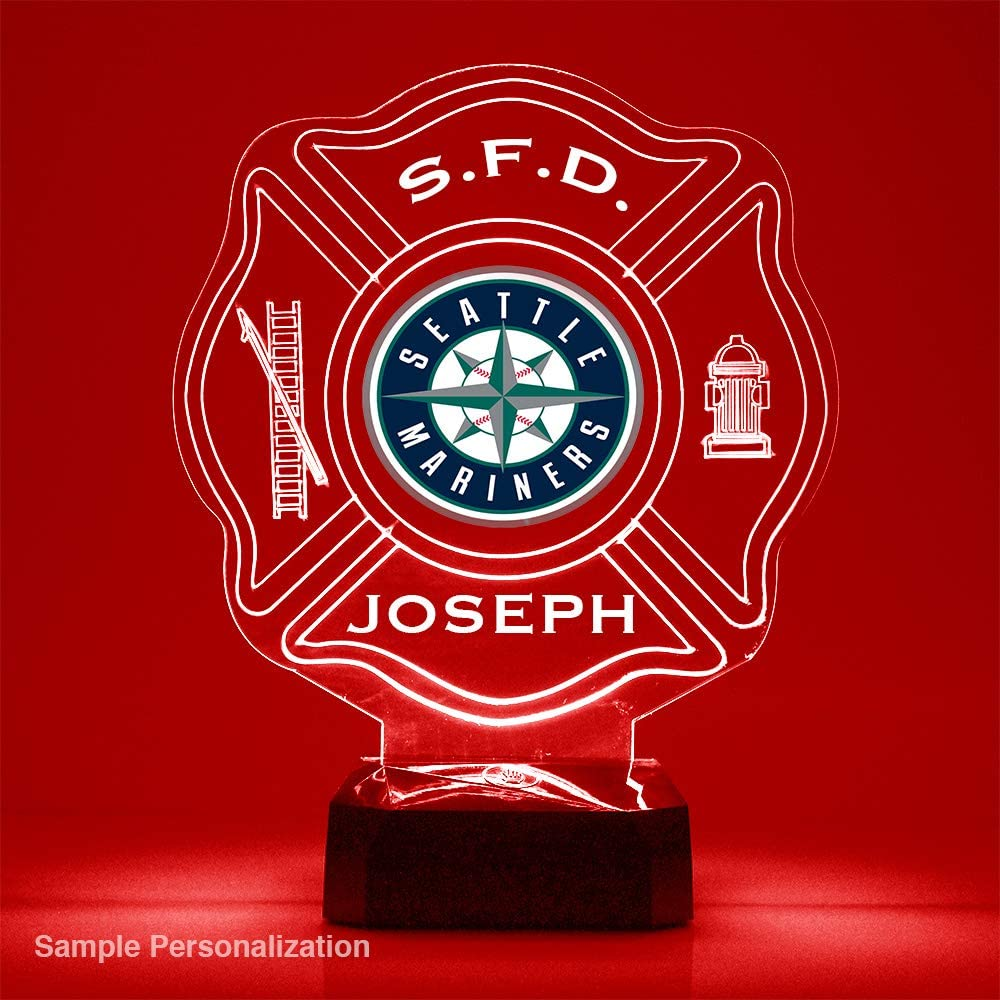 Personalize for Free Featuring Licensed Decal LED Mirror Magic Store Firefighter Maltese Cross Baseball Sports Fan Lamp//Night Light Braves Atlanta