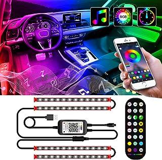 zhuolang Auto Led Innenbeleuchtung, Ambiente Beleuchtung Auto, Autoatmosphäre Licht, Fußraumbeleuchtung mit Fernbedienung, Musik Synchronisation, Wasserdichte Auto Innenraumbeleuchtung mit USB, 12V