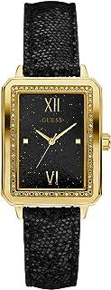 GUESS Factory - Reloj rectangular para mujer, color negro y dorado, NS