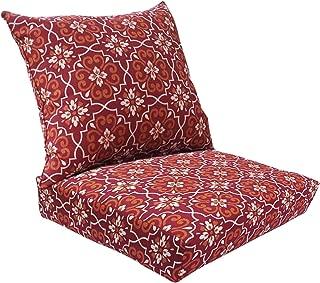 Affair Deep Seat Sofa Outdoor Chair Cushion Set - Red Damask